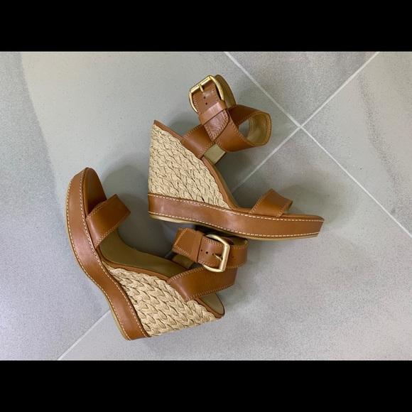 Stuart Weitzman Tan Leather Wedge Sandals